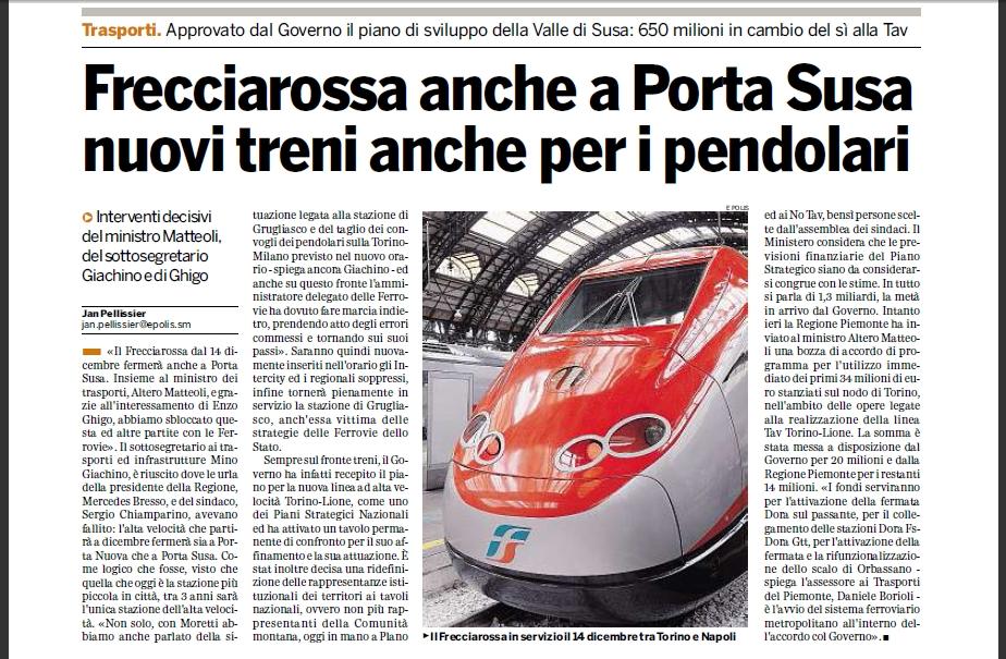 Nuovi orari trenitalia alta velocit sulla torino milano - Orari treni milano torino porta susa ...